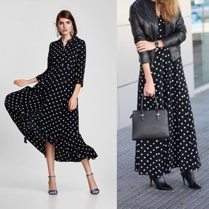 PHILOSOPHY Polka Dot Maxi Shirt Dress